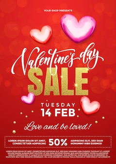 Valentines day sale vector poster of hearts on premium red glitter sparkling lights background