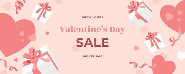 Valentines day sale web banner, falling gift boxes with holiday ribbons, confetti and bows