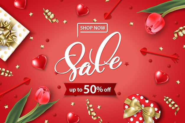 Valentines day sale web banner top view on composition with gift box red tulips confetti