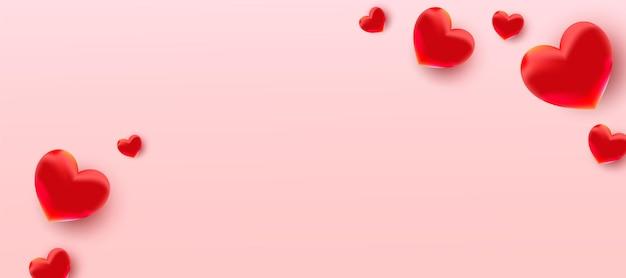 エアフォイルの赤い風船のハートのパターンでバレンタインデーのセール。