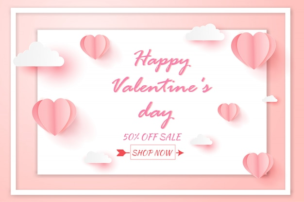 Valentines day sale with balloon heart pattern.