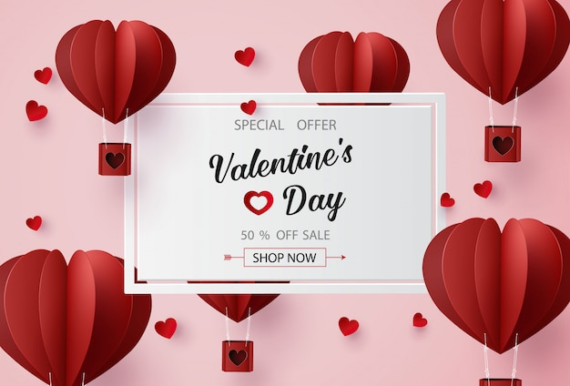 Valentines day sale with  balloon heart shape.