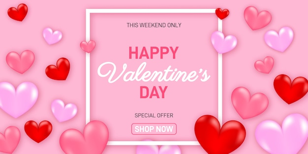 Valentines day sale with balloons heart and icon set.