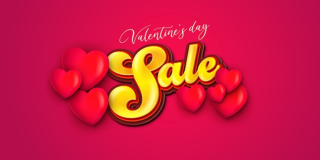 Valentines day sale with heart shape. happy valentines day romance greeting card with red and pink hearts.