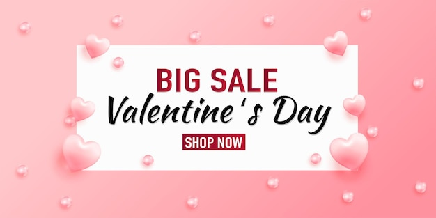 Valentines day sale  with hearts