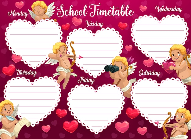 Valentines day school timetable with cherub cartoon character