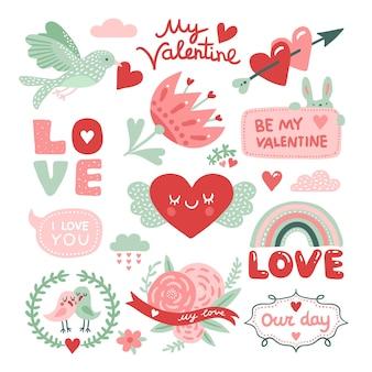 발렌타인 데이 스크랩북. 붉은 마음, 꽃과 사랑 비문, 귀여운 토끼 스티커와 새. 벡터 장식 디자인 요소입니다. 사랑과 마음, 축하 로맨스의 날 그림