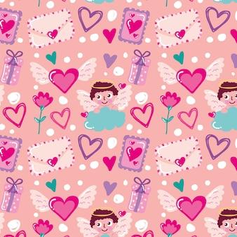 キューピッドキャラクターとバレンタインデーのシームレスなパターン