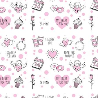 包装紙のためのバレンタインデーのシームレスなパターン