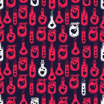 Valentines day seamless pattern of glass bottles with cute hearts inside