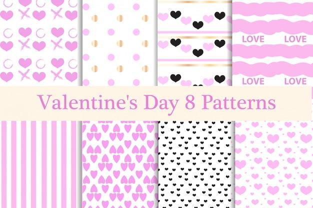 バレンタインデーのシームレスなパターンセット。心の無限の背景、テクスチャ。紙のコレクション。図。