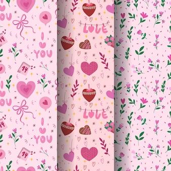 День святого валентина бесшовные модели. векторная коллекция из трех милых шаблонов для оберточной бумаги.