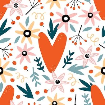 花、葉、ハートのバレンタインデーのシームレスなパターン。
