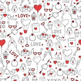 Valentines day seamless pattern with hand drawn love symbols.