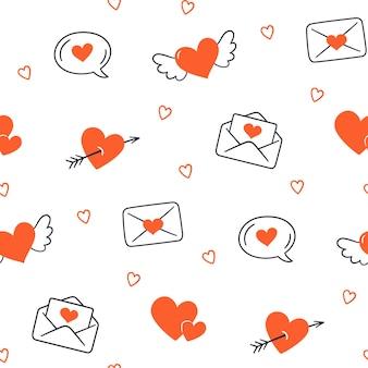 バレンタイン・デー。ハートとのシームレスなパターン。白い背景に