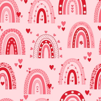 Valentines day seamless pattern with rainbows and hearts on pink background.