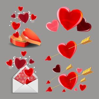 バレンタインデーセット。ロマンチックな要素、金色の矢、ハート、ギフトボックス、封筒のコレクション。
