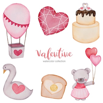 Valentines day set elements air balloon, cake, teddy and more.