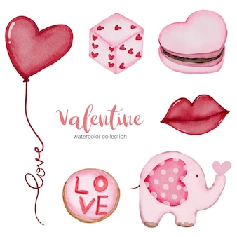Valentines day set elements balloon, lips, dise and more.