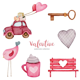 Valentines day set elements bird, car, bench, key and more.