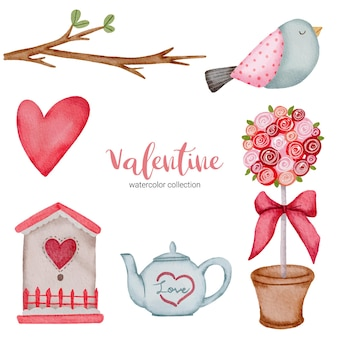 Valentines day set elements branches, birds, heart, teapot and more.