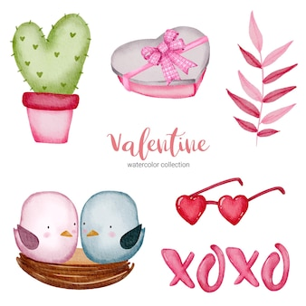 Valentines day set elements cactus, birds, books glasses and more. template for sticker kit, greeting, congratulations, invitations, planners. vector illustration