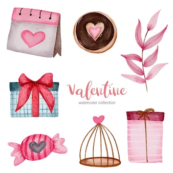Valentines day set elements calendar, gifts, leaves and more.