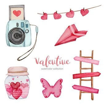 Valentines day set elements, camera, butterfly, ladder, and more.