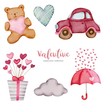 발렌타인 데이 설정 요소 구름, 테디, 심장, 선물 상자 등.