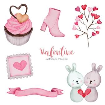발렌타인 데이 요소 컵 케이크, 리본, 베개 등을 설정합니다. 스티커 키트, 인사말, 축하, 초대장, 플래너를위한 템플릿입니다. 벡터 일러스트 레이 션