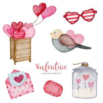 Busta degli elementi dell'insieme di giorno di biglietti di s. valentino, uccello; palloncino, occhiali da sole e altro ancora.