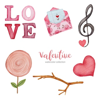 Valentines day set elements envelope, candy, gift and more.