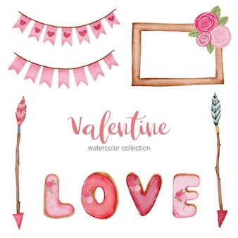 バレンタインデーのセット要素、フレーム、矢印、花など。