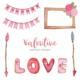 Valentines day set elements, frame, arrow, flowers, and more.