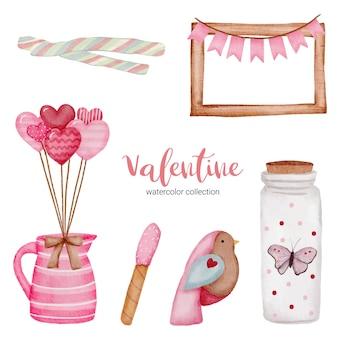 발렌타인 데이는 요소, 프레임, 항아리, 새 등을 설정합니다.