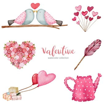 Valentines day set elements gifts, birds, heart and more.