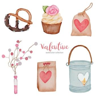 Elementi impostati di san valentino, cuore, borsa, cupcake e così via.
