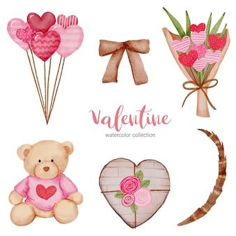 Cuore stabilito degli elementi di giorno di biglietti di s. valentino, pallone; orsacchiotto, nastro e altro ancora.