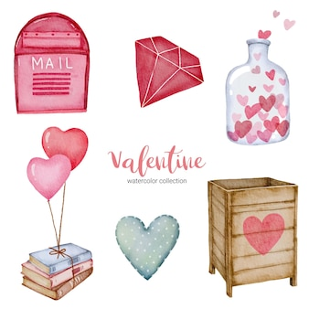 Valentines day set elements heart, mail box, books and more.