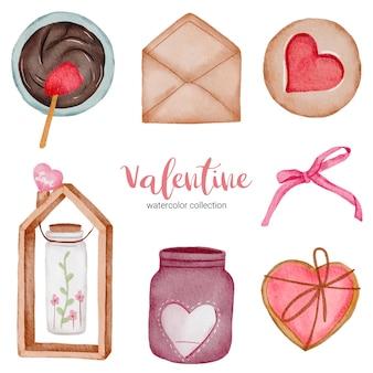 バレンタインデーのセット要素、ハート、リボン、封筒、瓶、蝶など。