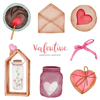 Valentines day set elements, heart, ribbon, envelope, jar, butterfly and etc.