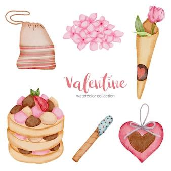 Elementi stabiliti di giorno di biglietti di s. valentino, cuore, fragola; regalo, torta e così via