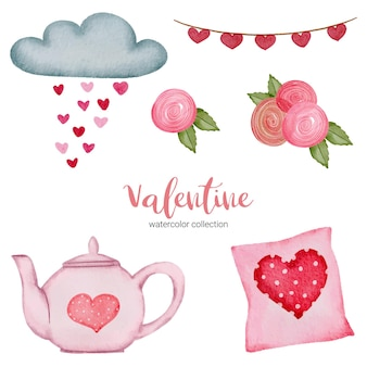 Valentines day set elements pillow, cloud, rose and more.