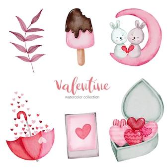 バレンタインデーは、ウサギ、アイスクリーム、本などの要素を設定します。ステッカーキット、挨拶、おめでとう、招待状、プランナーのテンプレート。ベクトルイラスト