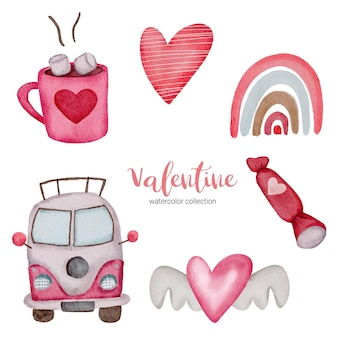 Valentines day set elements rainbow, bus, chocolate and more.