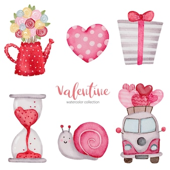 Valentines day set elements snail, bus, heart, gift box and more.