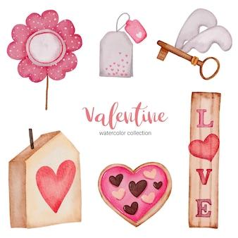 バレンタインデーセットの要素ティーパック、花、キーホルダーなど。
