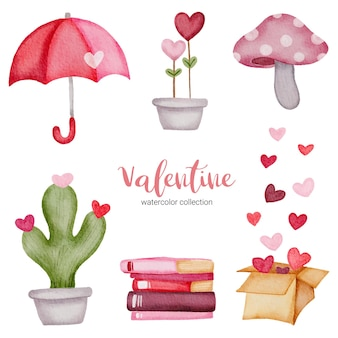 Valentines day set elements umbrella, mushroom, heart, cactus and more.
