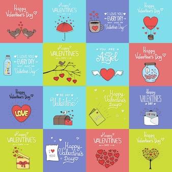 バレンタインデーセット-エンブレムとカード。ベクトルイラスト。