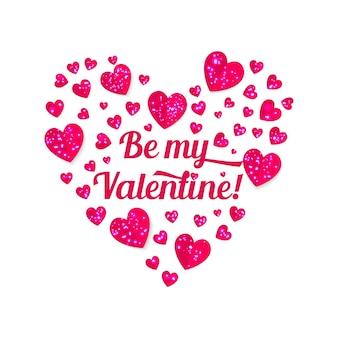 バレンタインデーの光沢のあるハートとレタリング